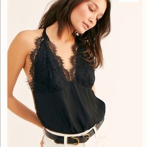 NWT Free People Melrose Bodysuit Backless Lace Top Small